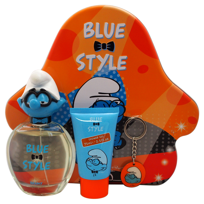 The Smurfs Blue Style Brainy by First American Brands for Kids - 3 Pc Gift Set 3.4oz EDT Spray, 2.5oz Shower Gel, Brainy Key Chain