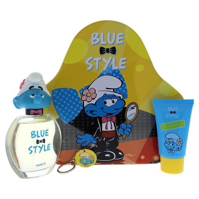 The Smurfs Blue Style Vanity by First American Brands for Kids - 3 Pc Gift Set 3.4oz EDT Spray, 2.5oz Shower Gel, Vanity Key Chain
