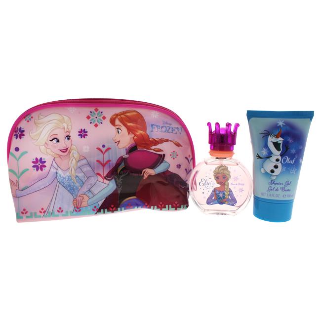 Frozen by Disney for Kids - 3 Pc Gift Set 1.7oz EDT Spray, 3.4oz Shower Gel, Toiletry Bag
