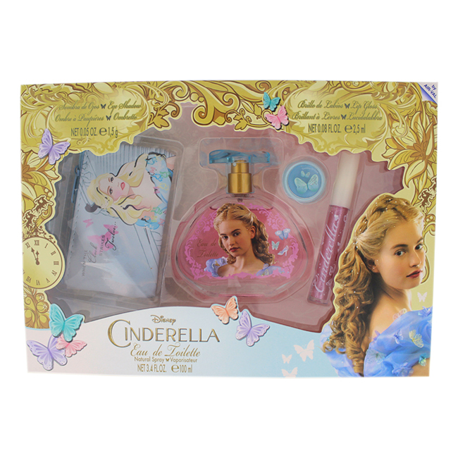 Cinderella by Disney for Kids - 4 Pc Gift Set 3.4oz EDT Spray, 0.08oz Lip Gloss, 0.05oz Eye Shadow, Purse Nice Disney