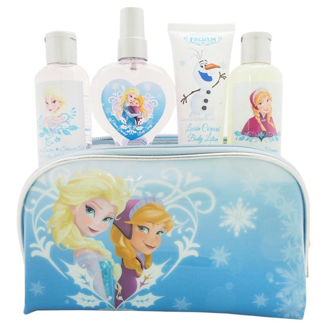Frozen by Disney for Kids - 5 Pc Gift Set 3.4oz Shower Gel, 3.06oz Body Spray, 2.04oz Body Lotion, 3.4oz Shampoo, Toiletry Bag