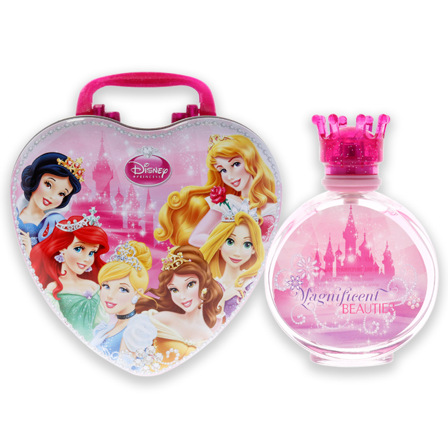 Disney Princess Magnificent Beauties by Disney for Kids - 2 Pc Gift Set 3.4oz EDT Spray, With Metal Lunch Box