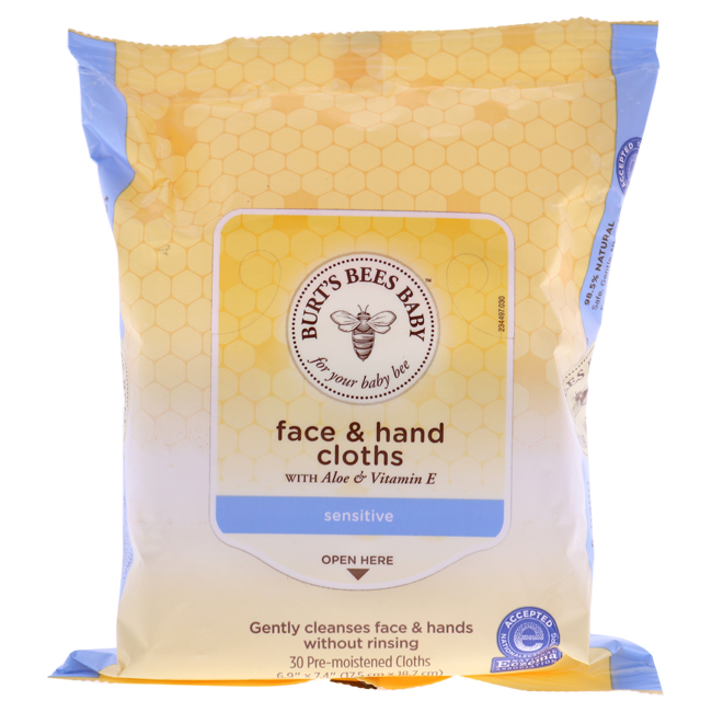 Baby Bee Face & Hand Cloths by Burt's Bees for Kids - 30 Pc Towelettes