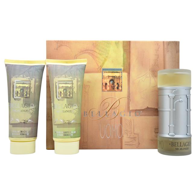 Bellagio by Vapro International for Men - 3 pc Gift Set 3.4oz edt Spray, 6.8oz after shave balm, 6.8oz shower gel