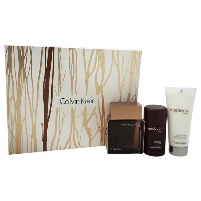 Euphoria Intense by Calvin Klein for Men - 3 Pc Gift Set 3.4oz EDT Spray, 3.4oz After Shave, 2.5oz Deodorant Stick