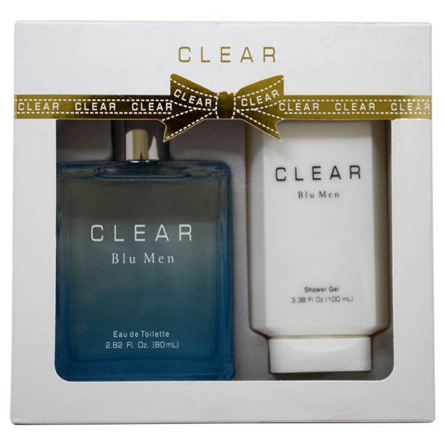 Clear Blu Men by Intercity Beauty Company for Men - 2 Pc Gift Set 2.82oz EDT Spray, 3.38oz Shower Gel