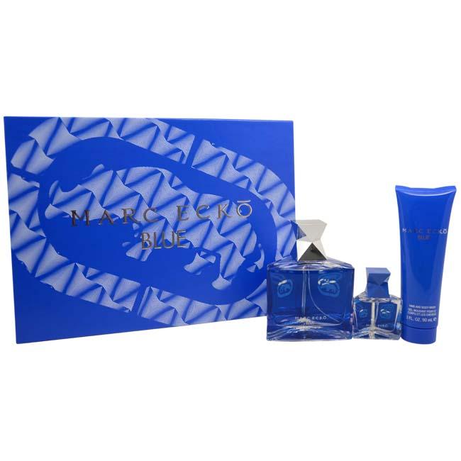 Ecko Blue by Marc Ecko for Men - 3 Pc Gift Set 3.4oz EDT Spray, 0.5oz EDT Spray, 3oz Hair And Body Wash