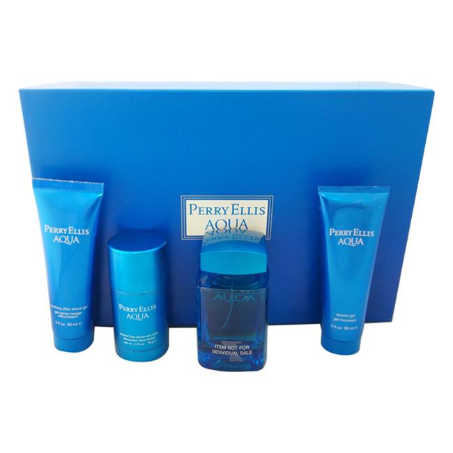 Perry Ellis Aqua by Perry Ellis for Men - 4 Pc Gift Set 3.4oz EDT Spray, 3oz Soothing After Shave Gel, 3oz Shower Gel, 2.75oz Deodorant Stick