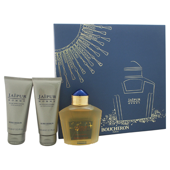 Jaipur Homme by Boucheron for Men - 3 Pc Gift Set 3.3oz EDP Spray, 3.3oz After Shave Balm, 3.3oz All Over Shower Gel