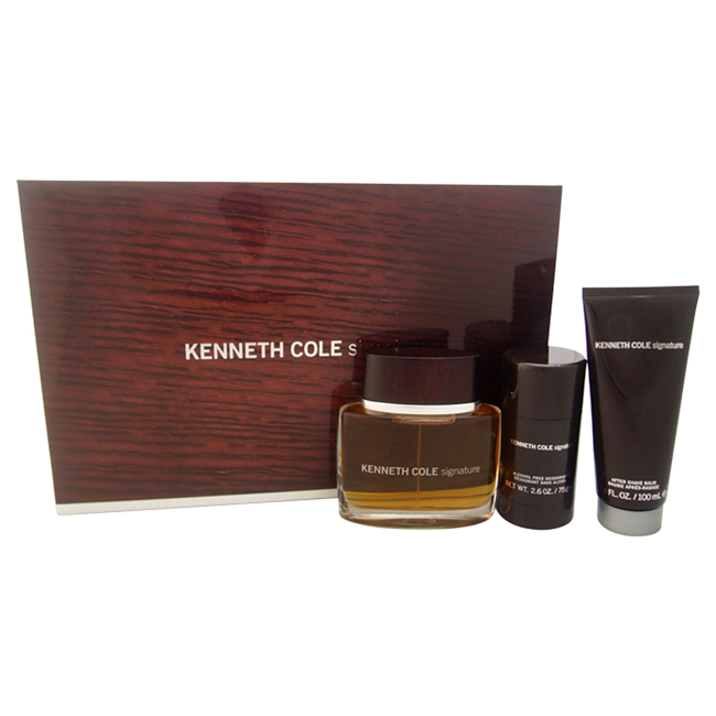 Kenneth Cole Signature by Kenneth Cole for Men - 3 Pc Gift Set 3.4oz EDT Spray, 3.4oz After Shave Balm, 2.6oz Deodorant Stick