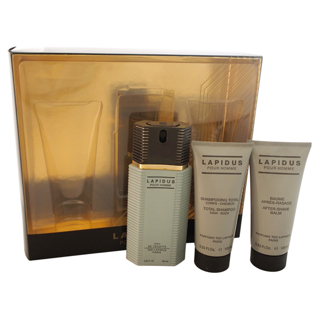 Lapidus by Lapidus for Men - 3 Pc Gift Set 3.33oz EDT Spray, 3.33oz Hair and Body Shampoo, 3.33oz After Shave Balm