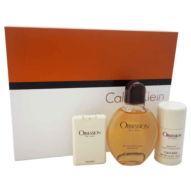 Obsession by Calvin Klein for Men - 3 Pc Gift Set 4oz EDT Spray, 0.67oz EDT Spray, 2.6oz Deodorant Stick Alcohol Free