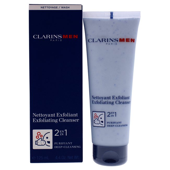 2 in 1 Exfoliating Cleanser by Clarins for Men - 4.4 oz Exfoliating Cleanser