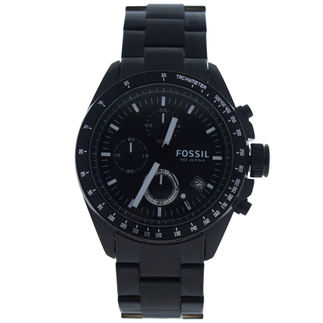 CH2601P Decker Chronograph Black Stainless Steel Watch by Fossil for Men - 1 Pc Watch