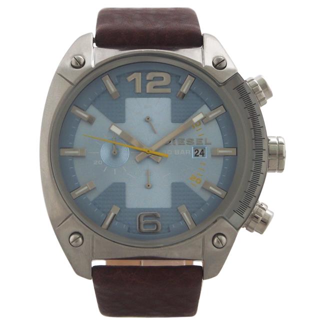 DZ4340 Chronograph Overflow Dark Brown Leather Strap Watch by Diesel for Men - 1 Pc Watch