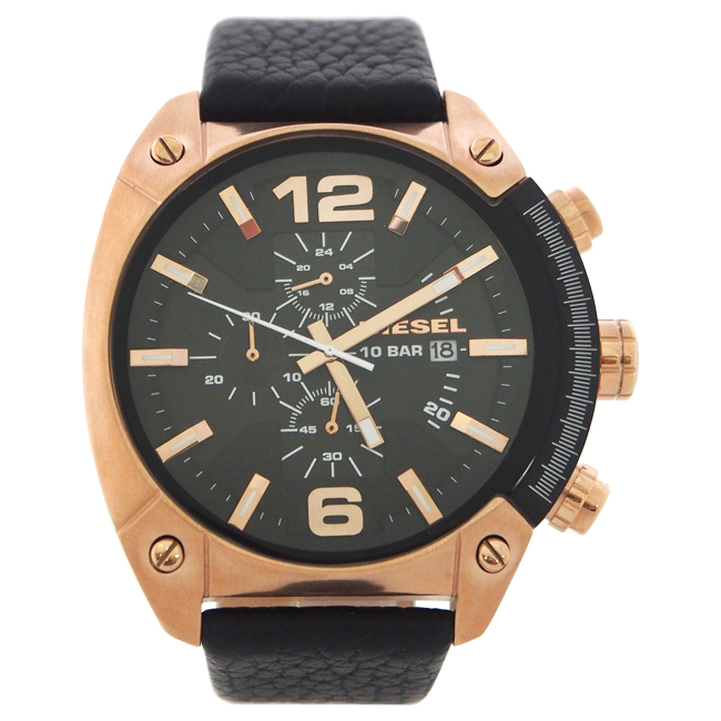 DZ4297 Chronograph Black Textured Leather Strap Watch by Diesel for Men - 1 Pc Watch