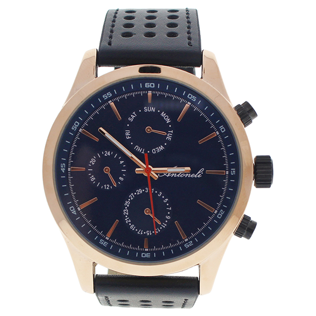AG0308-05 Rose Gold/Black Leather Strap Watch by Antoneli for Men - 1 Pc Watch