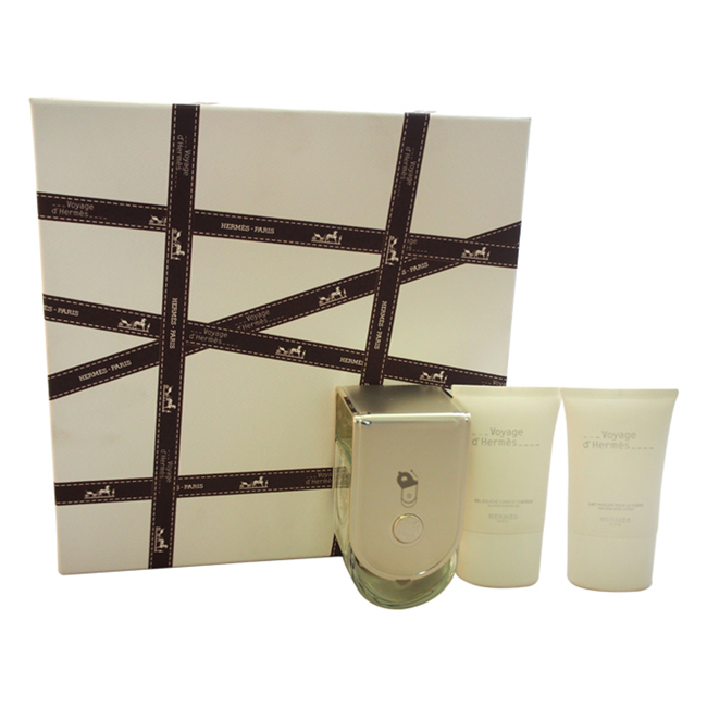 Voyage D'Hermes by Hermes for Unisex - 3 Pc Gift Set 3.3oz EDT Spray (Refillable), 1oz Perfumed Body Lotion, 1oz All-Over Shower Gel