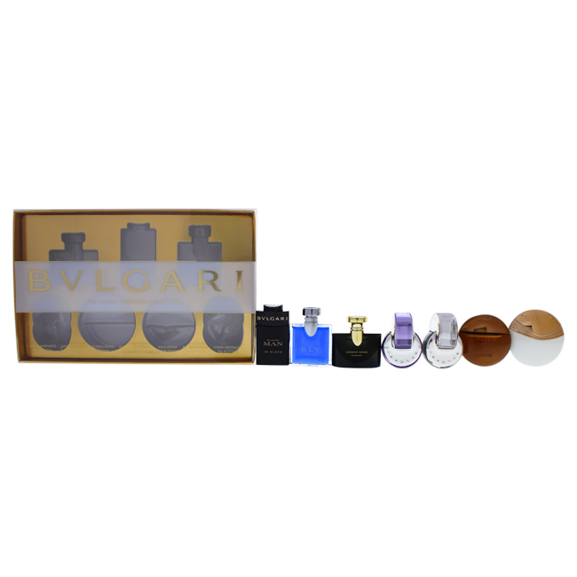 Bvlgari The Iconic Miniature Collection by Bvlgari for Unisex - 7 Pc Mini Gift Set 0.17oz Omnia Amethyste EDT Splash, 0.17oz Jasmin Noir EDP Splash, 0.17oz Bvlgari Aqva Divina EDT Splash, 0.17 oz Bvlgari Man In Black EDP Splash, 0.17oz Aqva Amara EDT Splash, 0.17oz Blv Pour Homme EDT Splash, 0.17oz Omina Crystalline EDT Splash