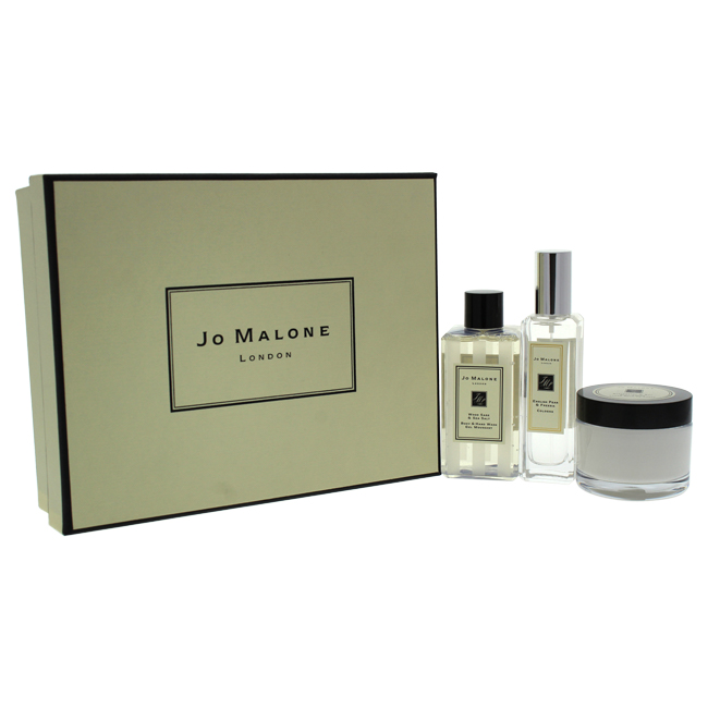 Fragrance Layering Collection by Jo Malone for Unisex - 3 Pc Gift Set 1oz English Pear & Freesia Cologne, 1.7oz Blackberry & Bay Body Cream, 3.4oz Wood Sage & Sea Salt Body & Hand Wash
