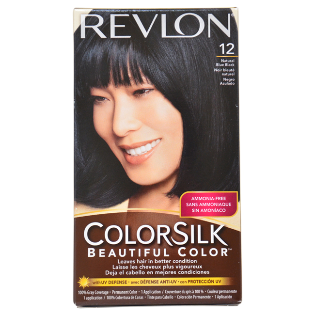 ColorSilk Beautiful Color #12 Natural Blue Black by Revlon for Unisex - 1 Application Hair Color