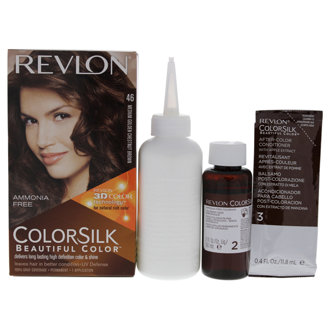 ColorSilk Beautiful Color #46 Medium Golden Chestnut Brown by Revlon for Unisex - 1 Application Hair Color