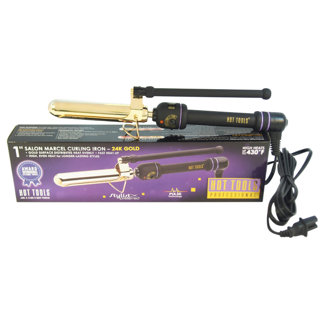 Professional Marcel Curling Iron - Model # 1108CN - Gold/Black by Hot Tools for Unisex - 1 Inch Curling Iron