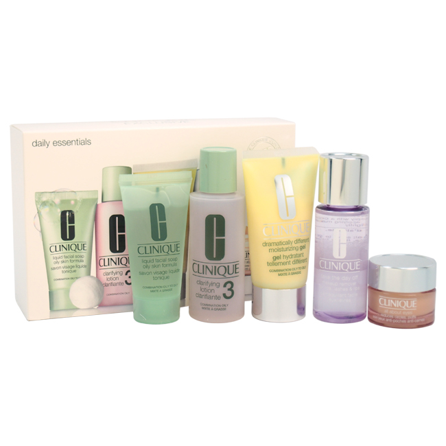 Daily Essentials Kit - Combination To Oily Skin by Clinique for Unisex - 5 Pc Kit 2oz Clarifying Lotion 3, 1.7oz Dramatically Different Moisturizing Gel, 1.7oz Take The Day Off Makeup Remover For Lids-Lashes & Lips, 1oz Liquid Facial Soap Oily Skin formula , 0.5oz All About Eyes