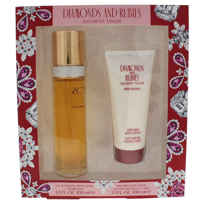 Diamonds and Rubies by Elizabeth Taylor for Women - 2 pc Gift Set 3.3oz edt Spray, 3.3oz perfumed body lotion