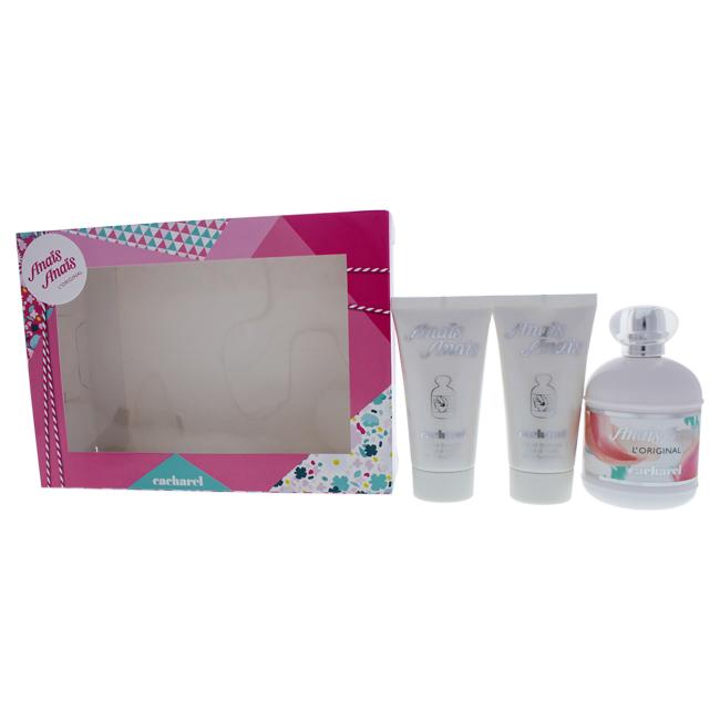Anais Anais by Cacharel for Women - 3 Pc Gift Set 3.4oz EDT Spray, 2 x 1.7oz Perfumed Body Lotion