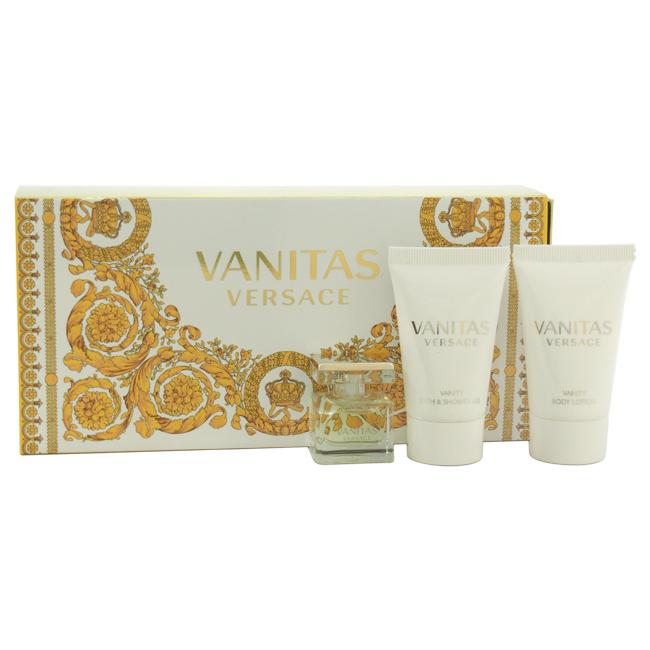 Vanitas Versace by Versace for Women - 3 Pc Mini Gift Set 0.15oz EDT Splash, 0.8oz Bath & Shower Gel, 0.8oz Body Lotion
