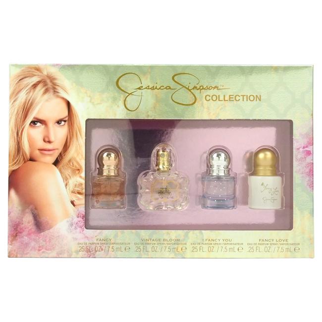 Jessica Simpson Collection by Jessica Simpson for Women - 4 Pc Mini Gift Set 0.25oz Fancy EDP Spray, 0.25oz Vintage Bloom EDP Spray, 0.25oz I Fancy You EDP Spray, 0.25oz Fancy Love EDP Spray