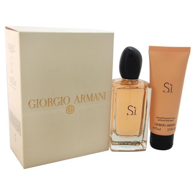 Giorgio Armani Si by Giorgio Armani for Women - 2 Pc Gift Set 3.4oz EDP Spray, 2.5oz Body Lotion