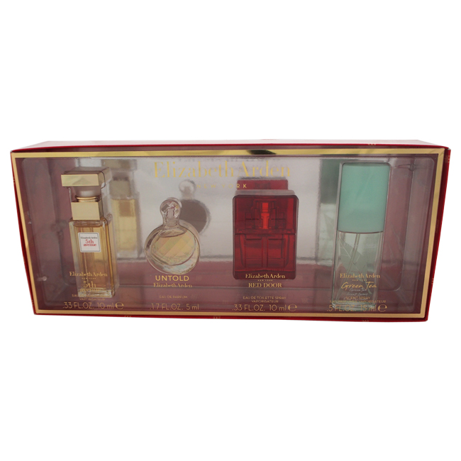 Elizabeth Arden by Elizabeth Arden for Women - 4 Pc Mini Gift Set 0.33oz 5th Avenue EDP Spray, 0.17oz Untold EDP Spray, 0.33oz Red Door EDT Spray, 0.5oz Green Tea EDP Spray