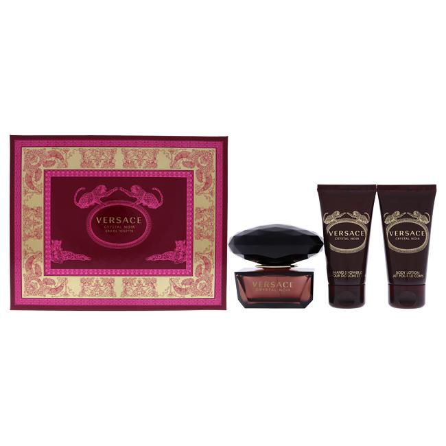 Versace Crystal Noir by Versace for Women - 3 Pc Gift Set 1.7oz EDT Spray, 1.7oz Body Lotion, 1.7oz Bath & Shower Gel