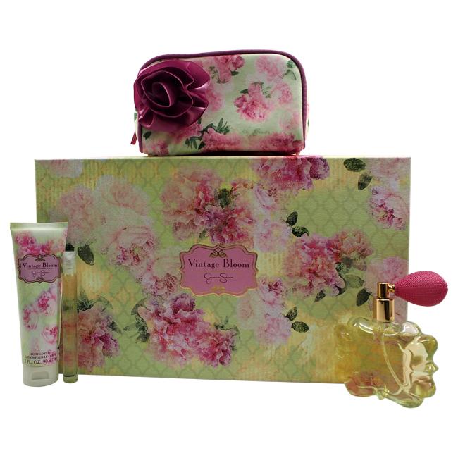 Vintage Bloom by Jessica Simpson for Women - 4 Pc Gift Set 3.4oz EDP Spray, 0.34oz EDP Spray, 3oz Body Lotion, Cosmetic Bag