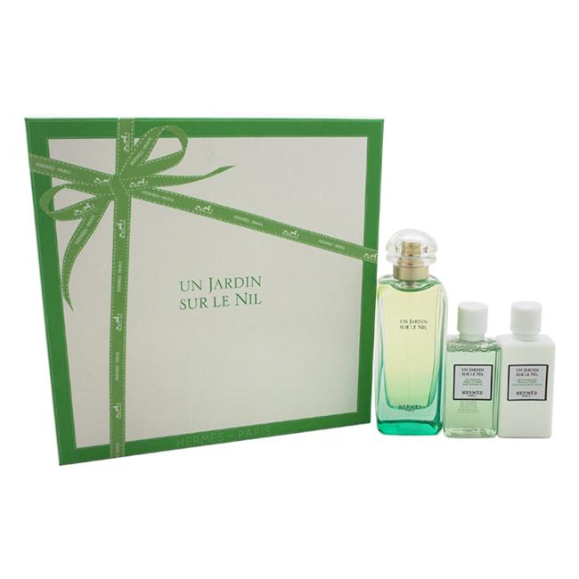 Un Jardin Sur Le Nil by Hermes for Women - 3 Pc Gift Set 3.3oz EDT Spray, 1.35oz Moisturizing Body Lotion, 1.35oz Body Shower Gel