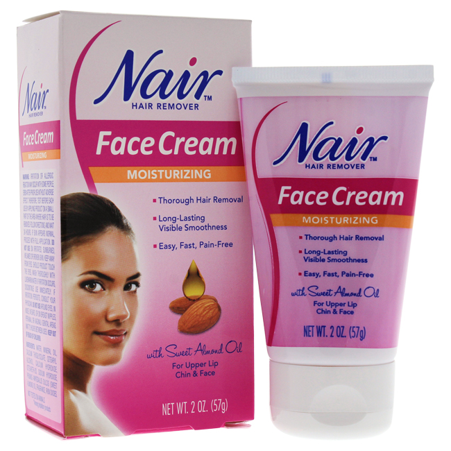 Moisturizing Face Cream For Upper Lip Chin And Face Hair Removal by Nair for Women - 2 oz Cream