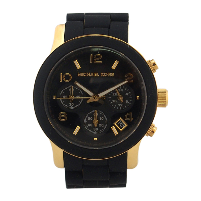 MK5191 Chronograph Runway Gold-Tone Stainless Steel and Black Polyurethane Bracelet Watch by Michael Kors for Women - 1 Pc Watch
