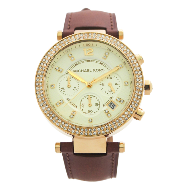 MK2249 Chronograph Parker Chocolate Brown Leather Strap Watch by Michael Kors for Women - 1 Pc Watch