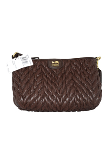 46716 Madison Chevron Nylon Demi Handbag - B4/Brown by Coach for Women - 1 Pc Bag
