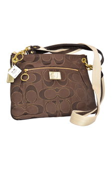 18135 Poppy Brown Signature C Lurex Hippie Crossbody Bag by Coach for Women - 1 Pc Bags