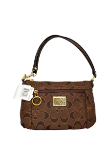 46121 Poppy Signature Capacity Wristlet Bag - B4/Brown by Coach for Women - 1 Pc Bag