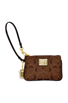 46131 Poppy Signature Lurex Wristlet Wallet Bag - B4/Brown by Coach for Women - 1 Pc Bag