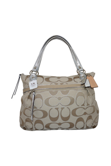 18979 Poppy Metallic Signature Sateen Glam Tote - SV/Cream Lt Khaki/Silver by Coach for Women - 1 Pc Bag