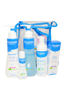 Newborn Set by Mustela for Kids - 6 Pc Gift Set 5.07oz Foam Shampoo, 10oz PhysiObebe, 10.1oz Hydra Bebe Body, 1.9oz Vitamin Barrier Cream, Product Sample, Complimentary Gift