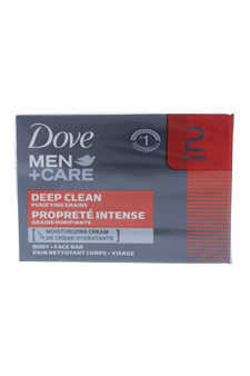 Deep Clean Body and Face Bar by Dove for Men - 2 x 4.25 oz Soap