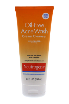 Oil-Free Acne Wash Cream Cleanser by Neutrogena for Unisex - 6.7 oz Cleanser