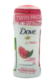 Go Fresh Anti-Perspirant Deodorant Revive Twin Pack by Dove for Women - 2 x 2.6 oz Deodorant Stick