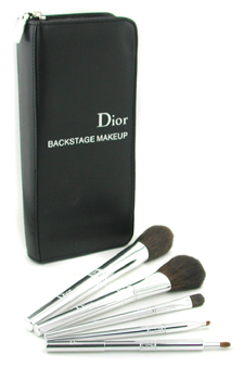Dior Backstage Makeup Brush Set(Face Powder, Blush, Eyes, Eyeliner, Lips) by Christian Dior for Women - 5 Pcs + 1 Case Brush Set
